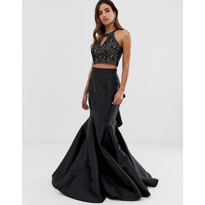 Jovani seperate maxi skirt with ruffle detail and embellished top-Black