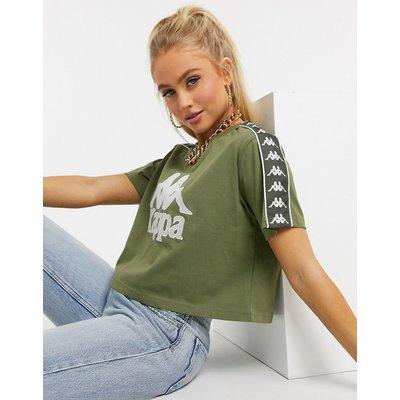 Kappa – Kurz geschnittenes T-Shirt in Khaki-Grün