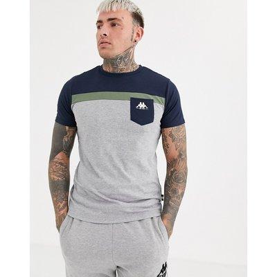 KAPPA Kappa – T-Shirt mit Bahnendesign, Logo und Tasche-Grau