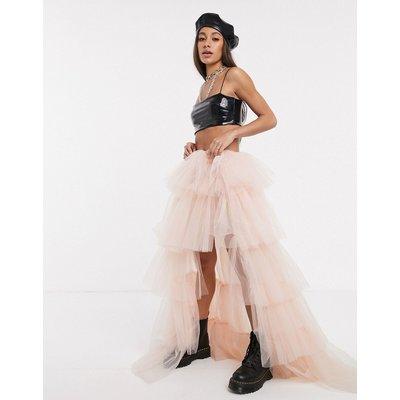 Kikiriki extreme ruffle high low maxi skirt in pink-Black