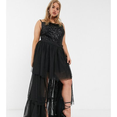 Lace & Beads Plus tiered high low tulle maxi skirt in black