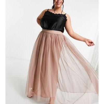 Lace & Beads Plus tulle maxi skirt in mink-Pink