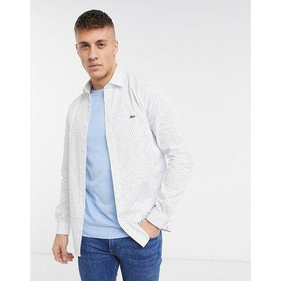 Lacoste – Langärmliges, gepunktetes Hemd-Weiß