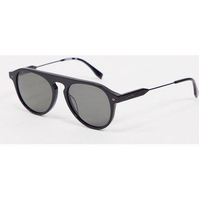 Lacoste – Ovale Sonnenbrille in Schwarz