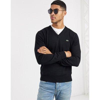 Lacoste – Pullover mit V-Ausschnitt-Schwarz