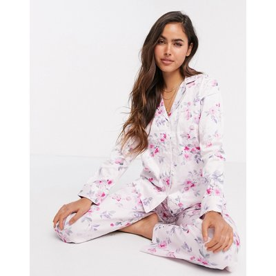 LAUREN by Ralph Lauren – Geblümter Pyjama mit eingekerbtem Kragen in Rosa