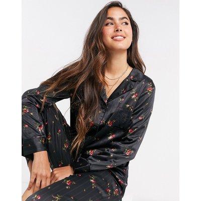 LAUREN by Ralph Lauren –– Geblümter Pyjama mit eingekerbtem Kragen in Schwarz