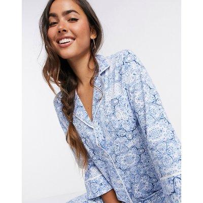 LAUREN by Ralph Lauren – Pyjama mit eingekerbtem Kragen in Blau bedruckt