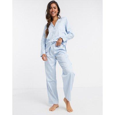 LAUREN by Ralph Lauren – Pyjama mit eingekerbtem Kragen in Grau-Blau