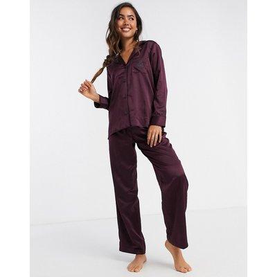 LAUREN by Ralph Lauren – Pyjama mit eingekerbtem Kragen in Weinrot-Violett