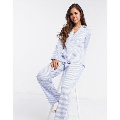 LAUREN by Ralph Lauren – Pyjama mit eingekerbtem Kragen mit Streifenmuster in Blassblau