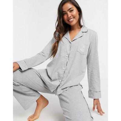 LAUREN by Ralph Lauren – Pyjama mit eingekerbtem Kragen und grauem Schottenkaro