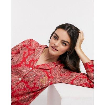 LAUREN by Ralph Lauren – Pyjama mit eingekerbtem Kragen und rotem Paisley-Muster