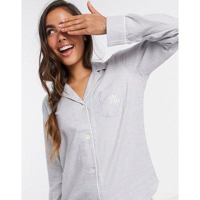 LAUREN by Ralph Lauren – Pyjama mit eingekerbtem Kragen und weißer Paspelierung in Grau