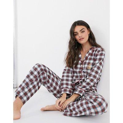 LAUREN by Ralph Lauren – Pyjama-Set in Elfenbein mit Karomuster und Einkerbung am Kragen-Mehrfarbig