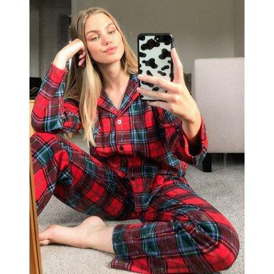 LAUREN by Ralph Lauren – Pyjama-Set mit Schottenkaros in Rot und eingekerbtem Kragen
