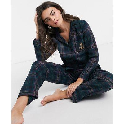 LAURENRalph Lauren – Pyjamaset mit Einkerbung am Kragen und grünes Schottenkaros