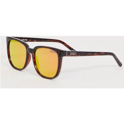 Levi's – Eckige Sonnenbrille in Schildpattoptik mit roten Spiegelgläsern-Braun