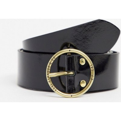 Levi's – Schwarzer Gürtel mit runder Schnalle