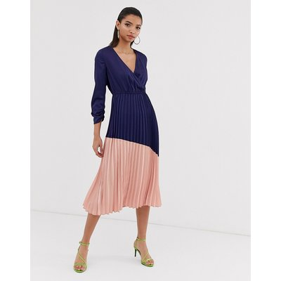 Liquorish pleated midi dress with colourblock skirt-Navy