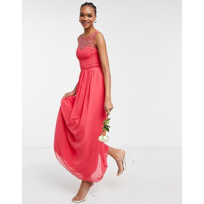 Little Mistress Bridesmaid chiffon maxi dress with pearl embellishment in coral-Orange