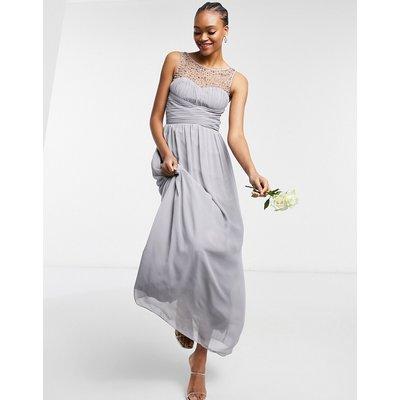 Little Mistress Bridesmaid chiffon maxi dress with pearl embellishment in grey