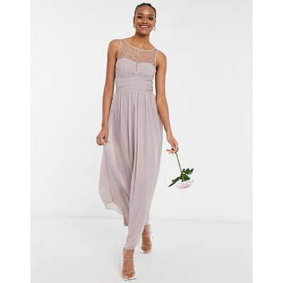 Little Mistress Bridesmaid chiffon maxi dress with pearl embellishment in mink-Pink