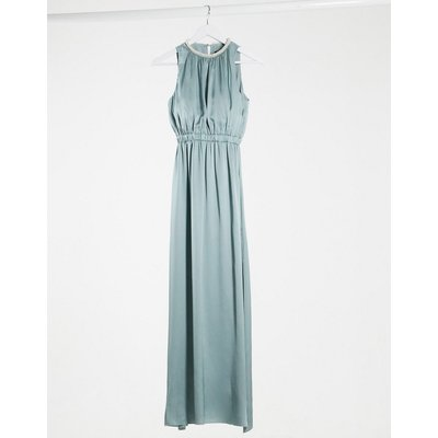 Little Mistress bridesmaid satin maxi dress with embellishment in cornflower-Blue