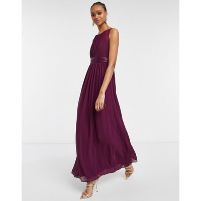 Little Mistress chiffon maxi dress in deep purple
