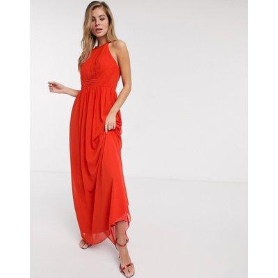 Little Mistress pleat chiffon maxi dress in tangerine-Orange