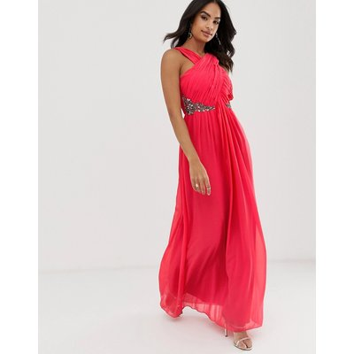 Little Mistress pleated crossover top and embellished chiffon maxi dress-Red
