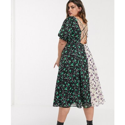 Lost Ink plus midi tea dress with back detail in mixed floral prints-Multi