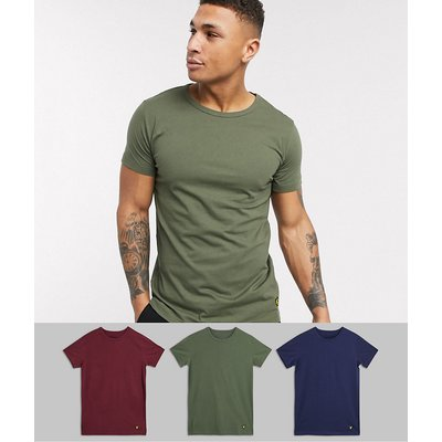 Lyle & Scott – 3er-Set Lounge-T-Shirts in Marine/Grün/Kastanienbraun-Mehrfarbig