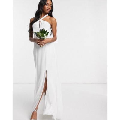 Maids to Measure bridal halter neck chiffon maxi dress with back detail-White