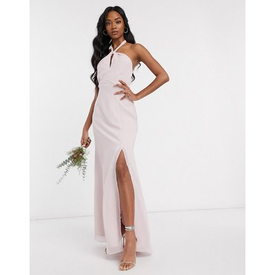 Maids to Measure bridesmaid halter neck chiffon maxi dress with back detail-Pink