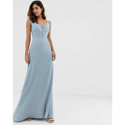 Maids to Measure bridesmaid maxi dress with button front detail and tie back-Blue