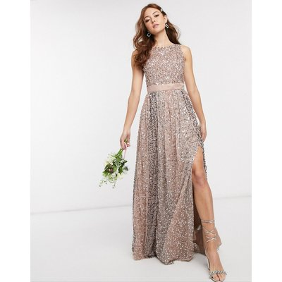 Maya Bridesmaid allover contrast tonal delicate sequin dress with satin waist in taupe blush-Multi