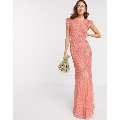 Maya Bridesmaid allover delicate sequin cap sleeve maxi dress in coral-Pink