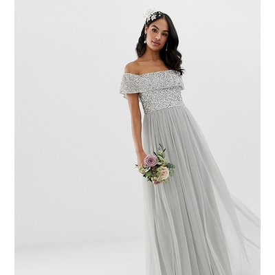 Maya Bridesmaid bardot maxi tulle dress with tonal delicate sequins in silver-Grey