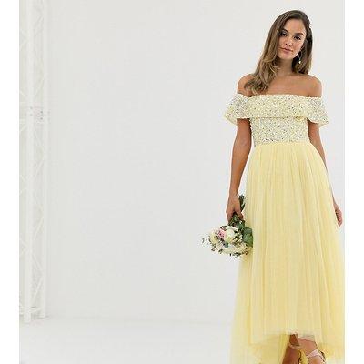 Maya Bridesmaid delicate sequin bardot high low maxi dress in lemon-Yellow