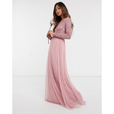 Maya Bridesmaid long sleeved maxi dress with delicate sequin and tulle skirt in vintage rose-Cream