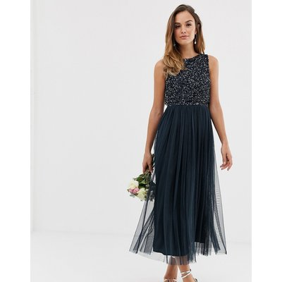 Maya Bridesmaid sleeveless midaxi tulle dress with tonal delicate sequin overlay in navy