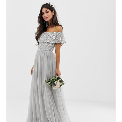 Maya Petite Bridesmaid bardot maxi tulle dress with tonal delicate sequins in silver-Grey