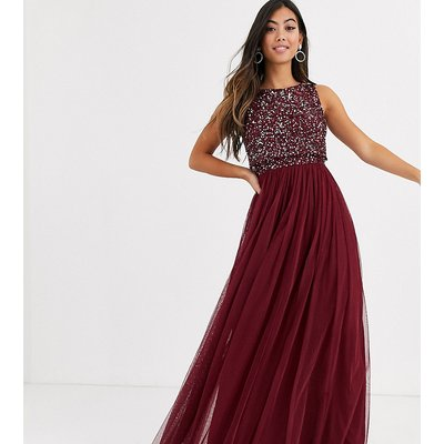 Maya Petite Bridesmaid delicate sequin 2 in 1 maxi dress in wine-Red
