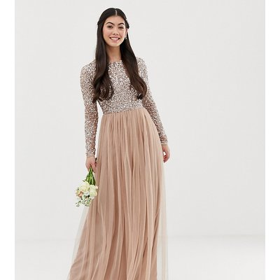Maya Petite Bridesmaid long sleeve maxi tulle dress with tonal delicate sequins in taupe blush-Brown