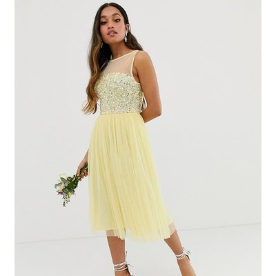 Maya Petite Bridesmaid mesh top delicate sequin midi dress in lemon-Yellow