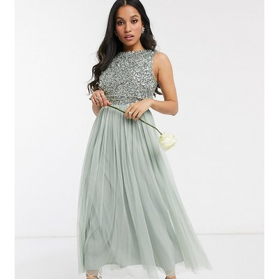 Maya Petite Bridesmaid sleeveless midaxi tulle dress with tonal delicate sequin overlay in sage green
