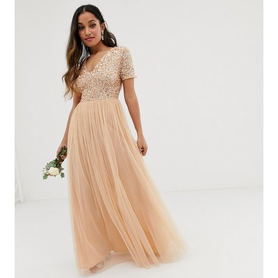 Maya Petite Bridesmaid V neck maxi dress with delicate sequin in soft peach-Pink