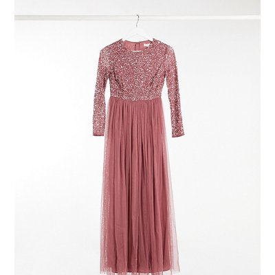 Maya Petite delicate sequin long sleeve maxi dress with tulle skirt in rose-Pink