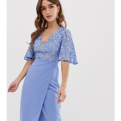 Maya Petite sequin top midi pencil dress with flutter sleeve detail in bluebell